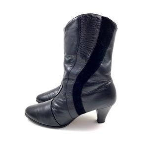 1970's HILL & DALE black leather western boots